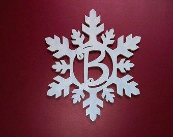 CUSTOM Wooden Snowflake Monogram