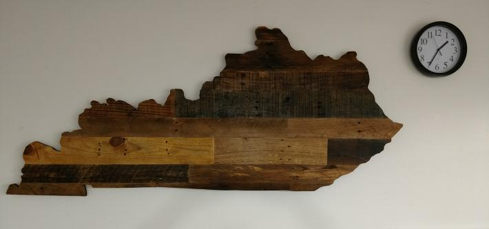 Small Rustic Wooden Kentucky State Sign