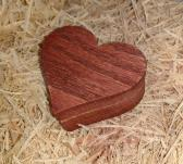 Heart shaped wooden box stained red