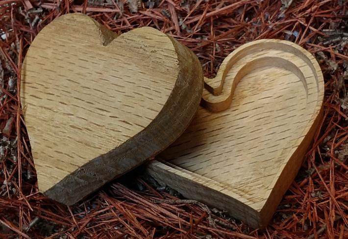 Heart shaped wooden box
