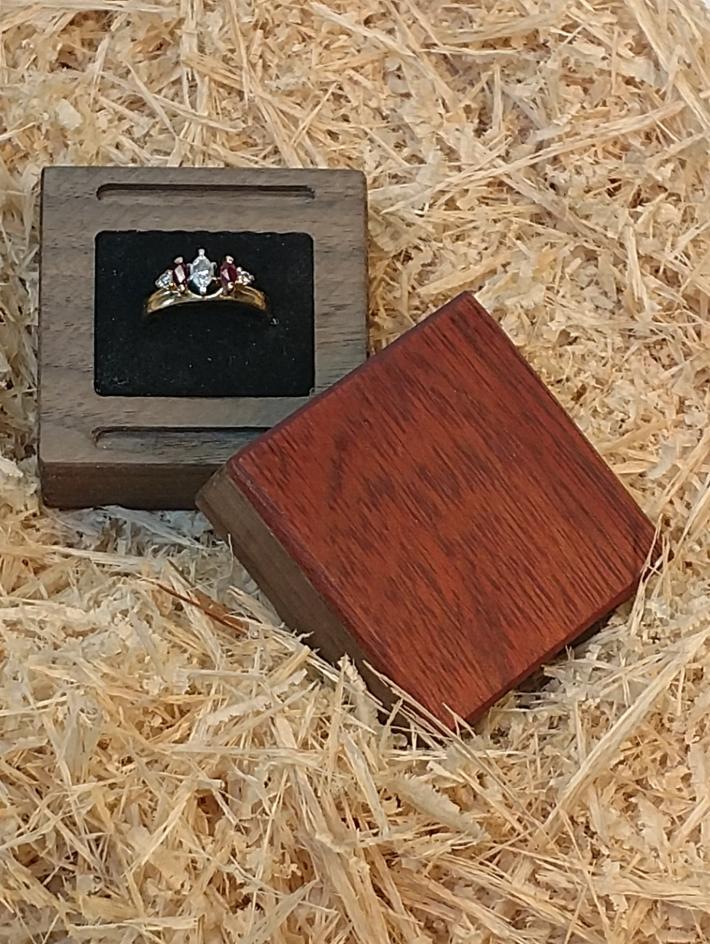 Handmade Walnut and Blood wood Ring Box