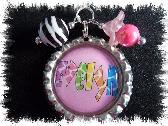 Personalized rainbow leopard  bottlecap necklace
