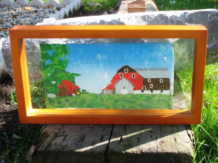 Polymer Clay Painting of a farm near Bancroft Ontario