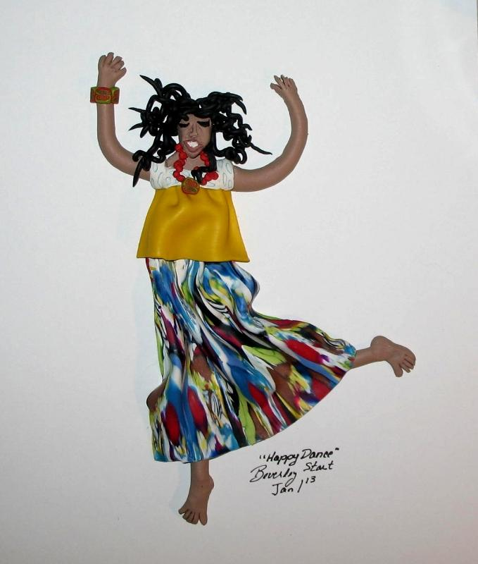 Happy Dance polymer clay original art