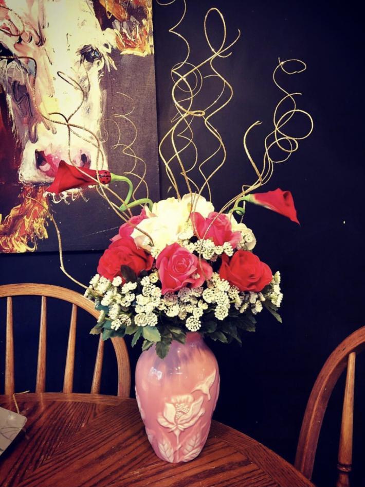 Valentine Floral Arrangement Humming bird vase