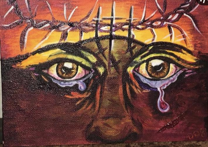 Original small Easter painting Calvary painting