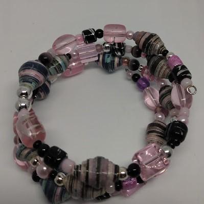 Paper Bead Memory Wire Bracelets
