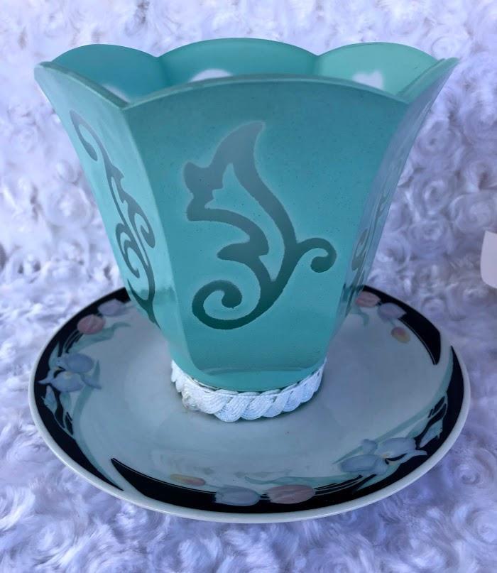 Blue Stenciled Light Shade Votive Candle Holder