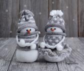 Snowmen Christmas ornament Knitting Gift Couple Holiday season Xmas Home decor Snow man Fiber Winter Yarn Wool NeighborKitty