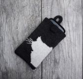 Knit phone case Gift White Kitty Cat iPhone cozy Dark charcoal cell phone cover Smartphone sleeve Device Purse Mobile Protection Pouch
