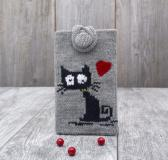 Knit phone case Gift Grey Kitty Cat iPhone cozy Grey White cell phone cover Smartphone sleeve Device Purse Mobile phone protection Pouch