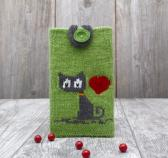 Knitted phone case Gift Grey Kitty Cat iPhone cozy Cell phone cover Smartphone sleeve Device Purse Phone protection