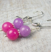 Pink Purple drop earring