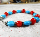 Turquoise and Carnelian with silver bracelet