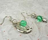 Half Moon with green bead earrings