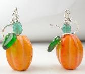 Pumpkin Earrings for Halloween or Thanksgiving in orange