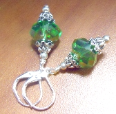 Christmas Ornaments worn as earrings or used on Miniature Trees in green