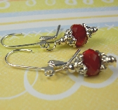 Blood Red small dangle earrings