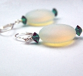 Opalite frosted puff bead with Emerald Green Crystals earrings