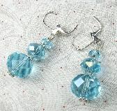 Aqua Chinese Crystal triple drop rondel earrings