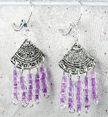 Chandelier Earrings with Purple clear beads and silver triangle