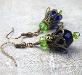 Cobalt Blue Copper Flower in Italian Glass earrings