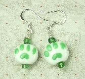 Green Animal Paws earrings in lampwork glass