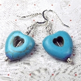 Turquoise Dyed Howlite Heart earrings that dangle