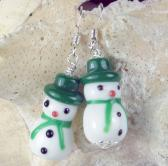Snowman Christmas Earrings Winter in green and white lampwork