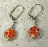 Orange Daisy Millifiore flower bead round earring