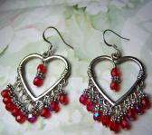 Valentine Chandelier Heart in Red Czech beads