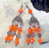 Chandeliers in Orange faceted czech glass beads with copper metal charms earrings halloween