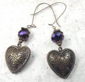 Large Kidney dangle earrings with purple czech bead and puff heart charm