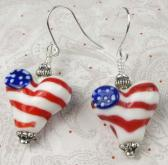 Heart earring in red white and blue lampwork bead  flags  patriotism  dangle  holidays