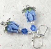 Blue Tulip Lampwork flowers with pearl and swarovski crystal   summer time  garden dainty
