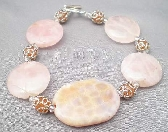 Crab Agate Oval Focal with Large Round Rose Crystal Lentil Beads
