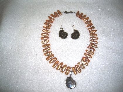 Amonite and Fresh Water Pearls