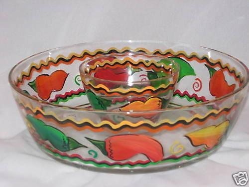 Hand painted CHIP and DIP Bowl with Vibrant Chili Peppers