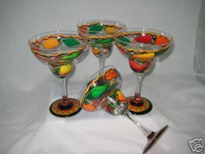 HAND PAINTED MARGARITA GLASSES VIBRANT CHILI PEPPERS SET OF 4