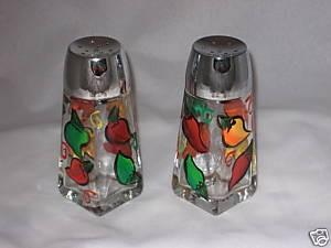 HAND PAINTED SALT AND PEPPER SHAKERS WITH CHILI PEPPERS