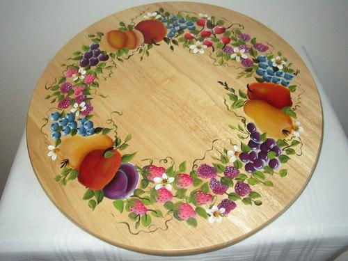 Hand painted Lazy Susan with Fruit