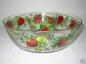Hand Painted Chip and Dip bowl with Strawberries