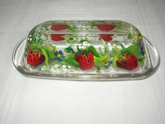 Hand Painted BUTTER DISH With STRAWBERRIES