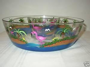 Hand Painted Glass Chip and Dip Bowl with Flamingos