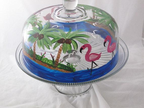 Hand Painted Cake Dome with Flamingos NEW ITEM