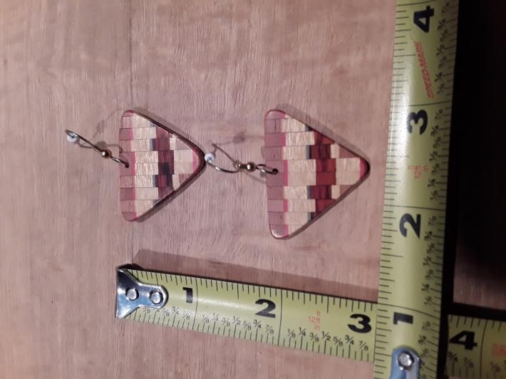 Staggered Segmented Wooden Earrings 2