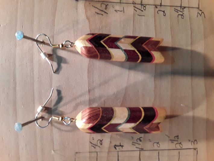 Multileveled Wooden Earrings multi woods