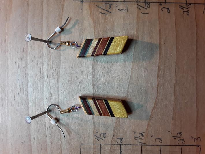 Slanted Laminated Wooden Earrings 2