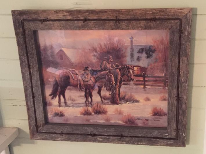 Weathered Oak Farm Wood Frame with Barbwire
