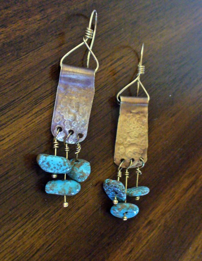 Coat Hanger Turquoise Earrings